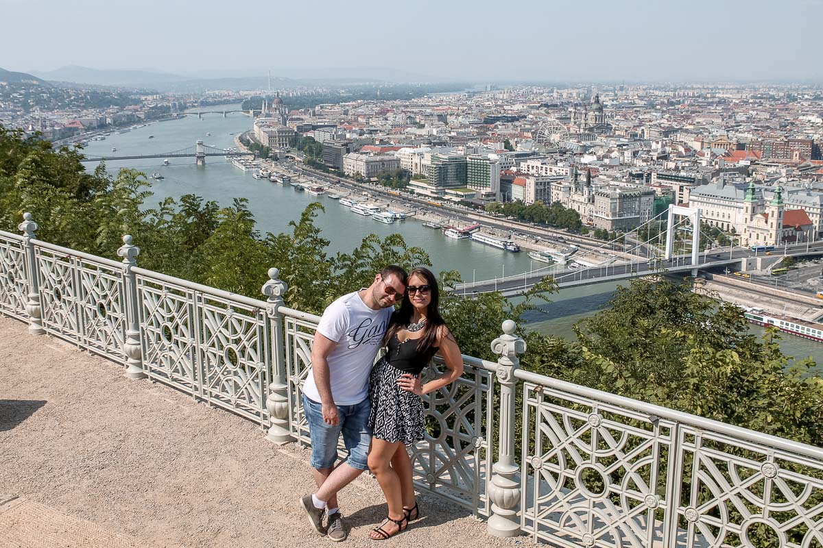 Boy and girl standing at the Citadel in Budapest