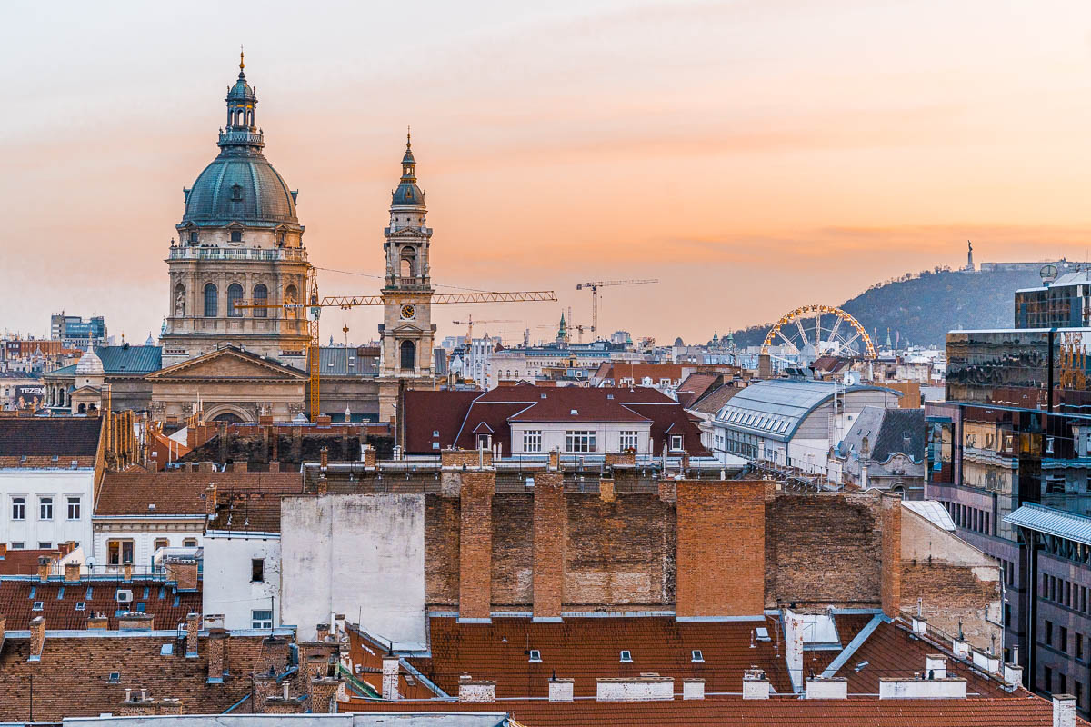 Sunset view from Intermezzo Roof Terrace with the St. Stephan's Basilica in the background in Budapest