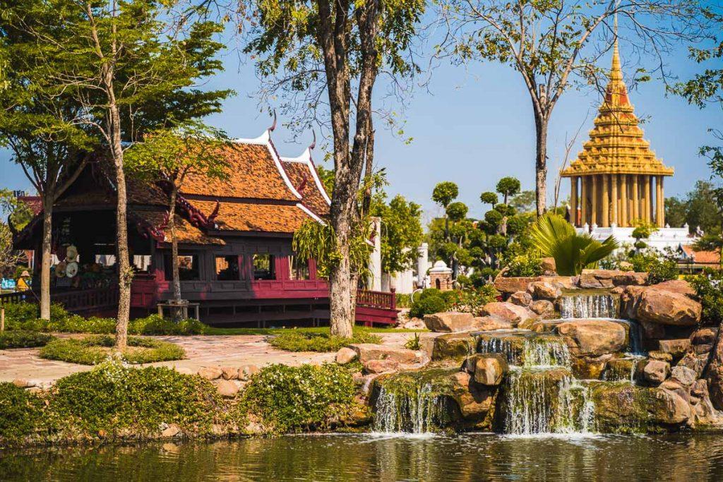 Beautiful garden at the Ancient Siam Bangkok