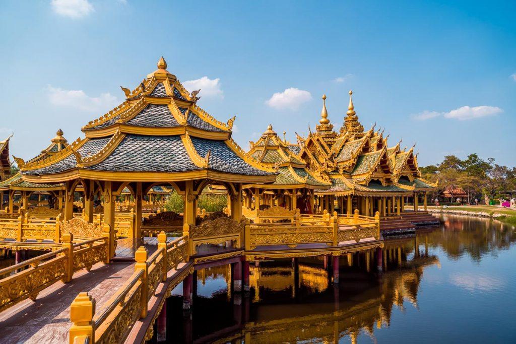 Golden temple at the Ancient Siam Bangkok