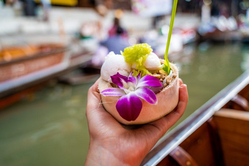 Coconut ice cream at the Damnoen Saduak Floating Market in Bangkok