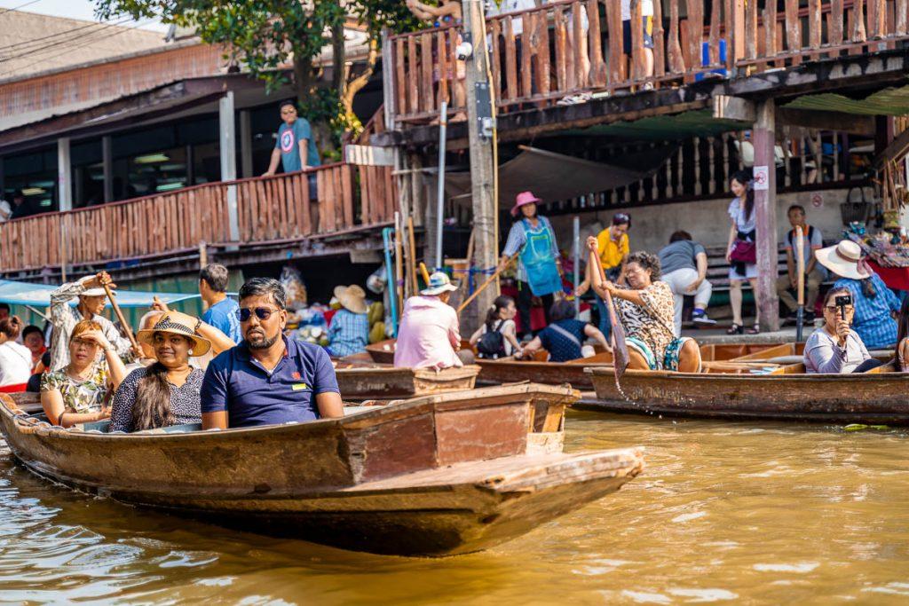 Boats at the Damnoen Saduak Floating Market in Bangkok