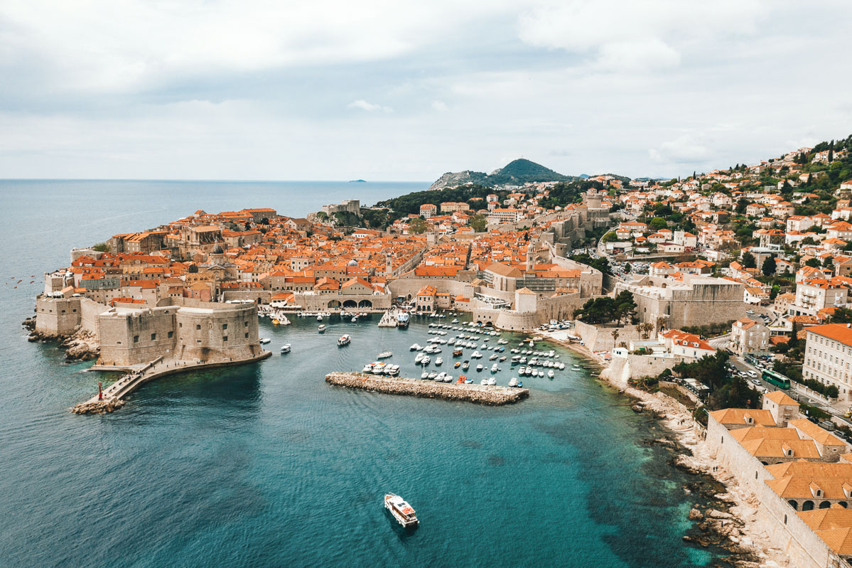 View of the Adriatic Sea and the city of Dubrovnik in Croatia
