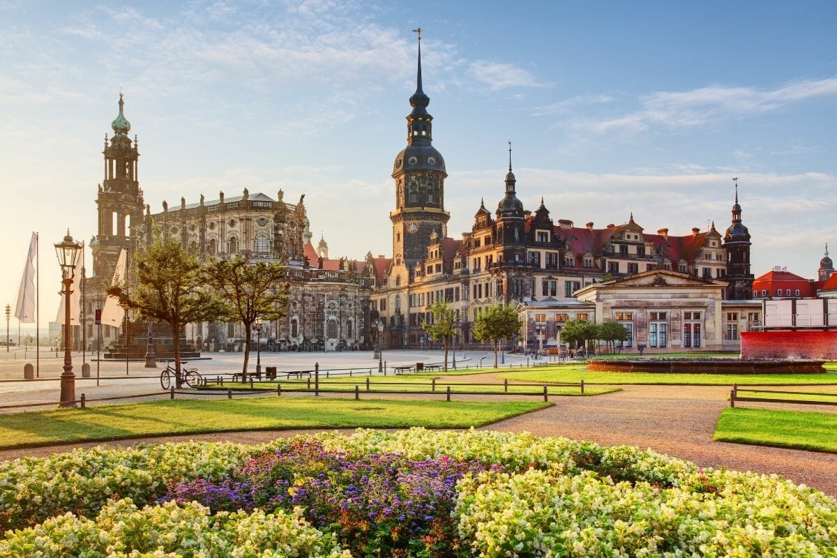 Dresden square at sunrise, Germany