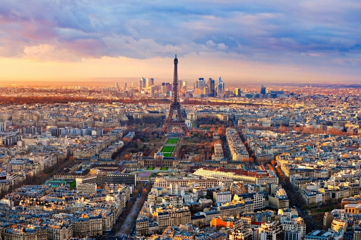 Aerial view of Paris from Montparnasse Tower