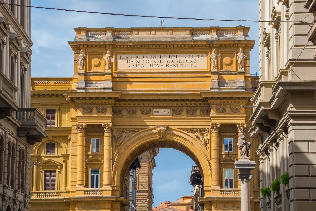 Archway on Piazza della Repubblica in Florence, Italy