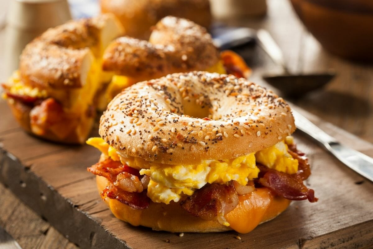 Bagels with bacon and cheese