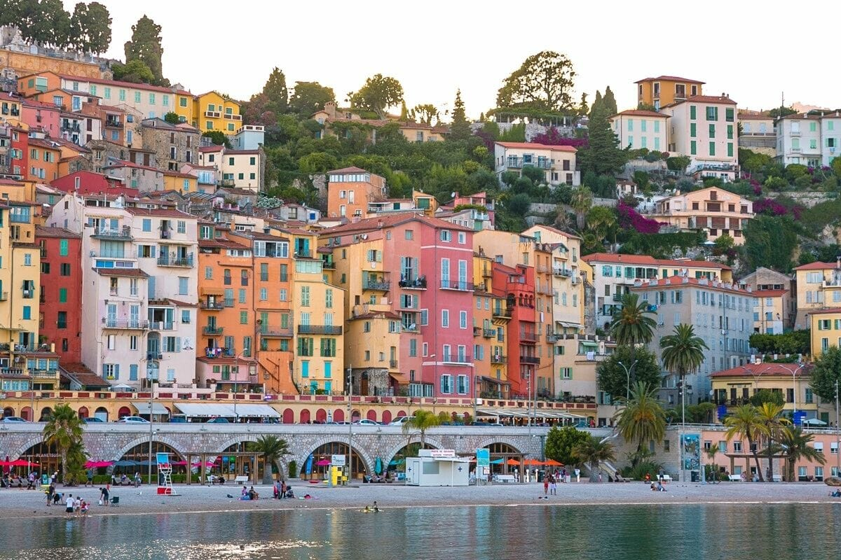 Colorful houses by the beach in Menton, France