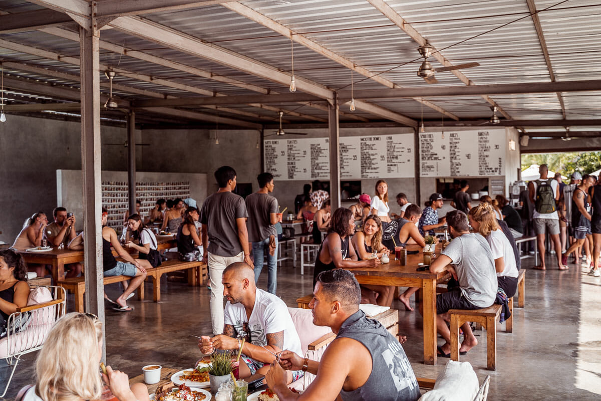Inside eating area at Crate Cafe in Canggu, Bali