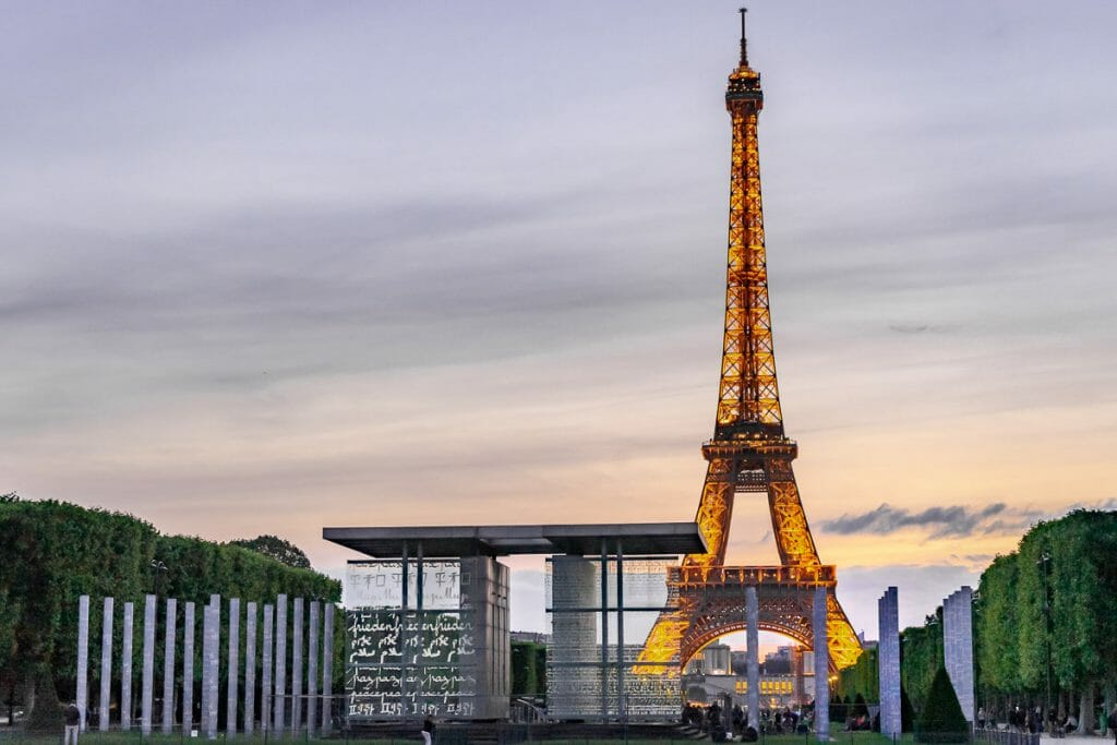 View of the Eiffel Tower from Champ de Mars in Paris