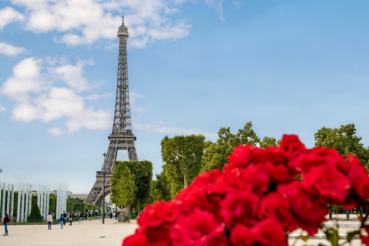 Eiffel Tower with roses from Champ de Mars