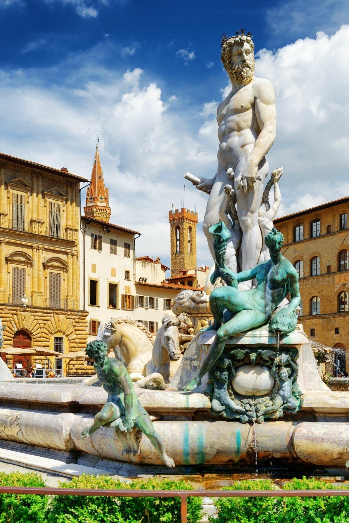 Fountain of Neptune on Piazza della Signoria in Florence, Italy