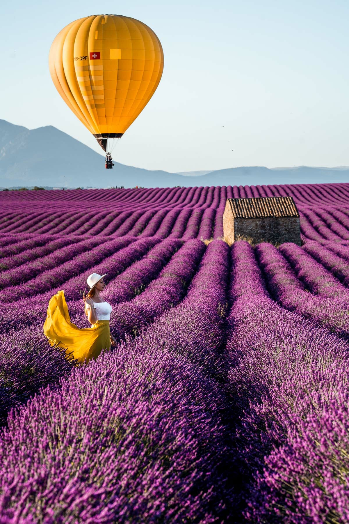 Hot air balloons at the lavender fields in Provence, France