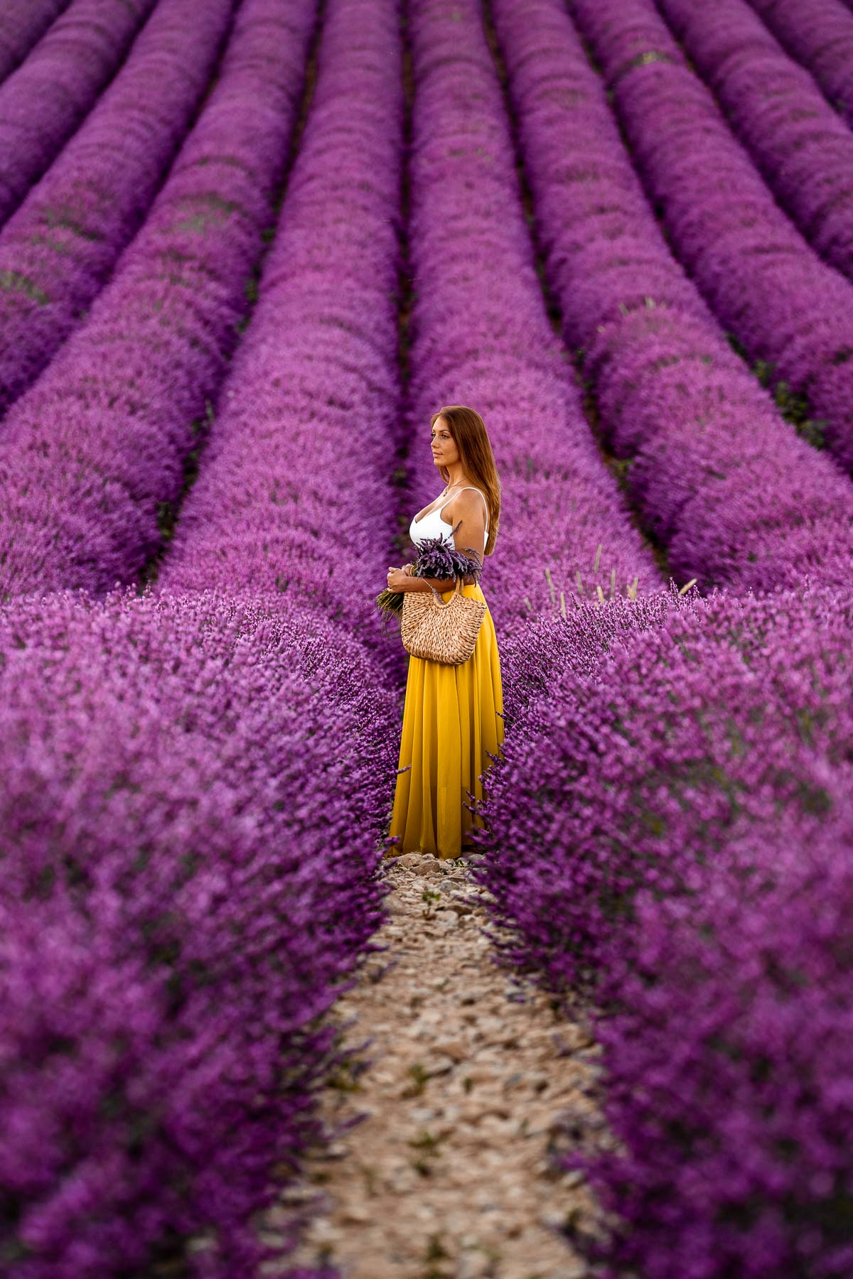 Girl in a yellow skirt standing in the endless lavender fields in Provence