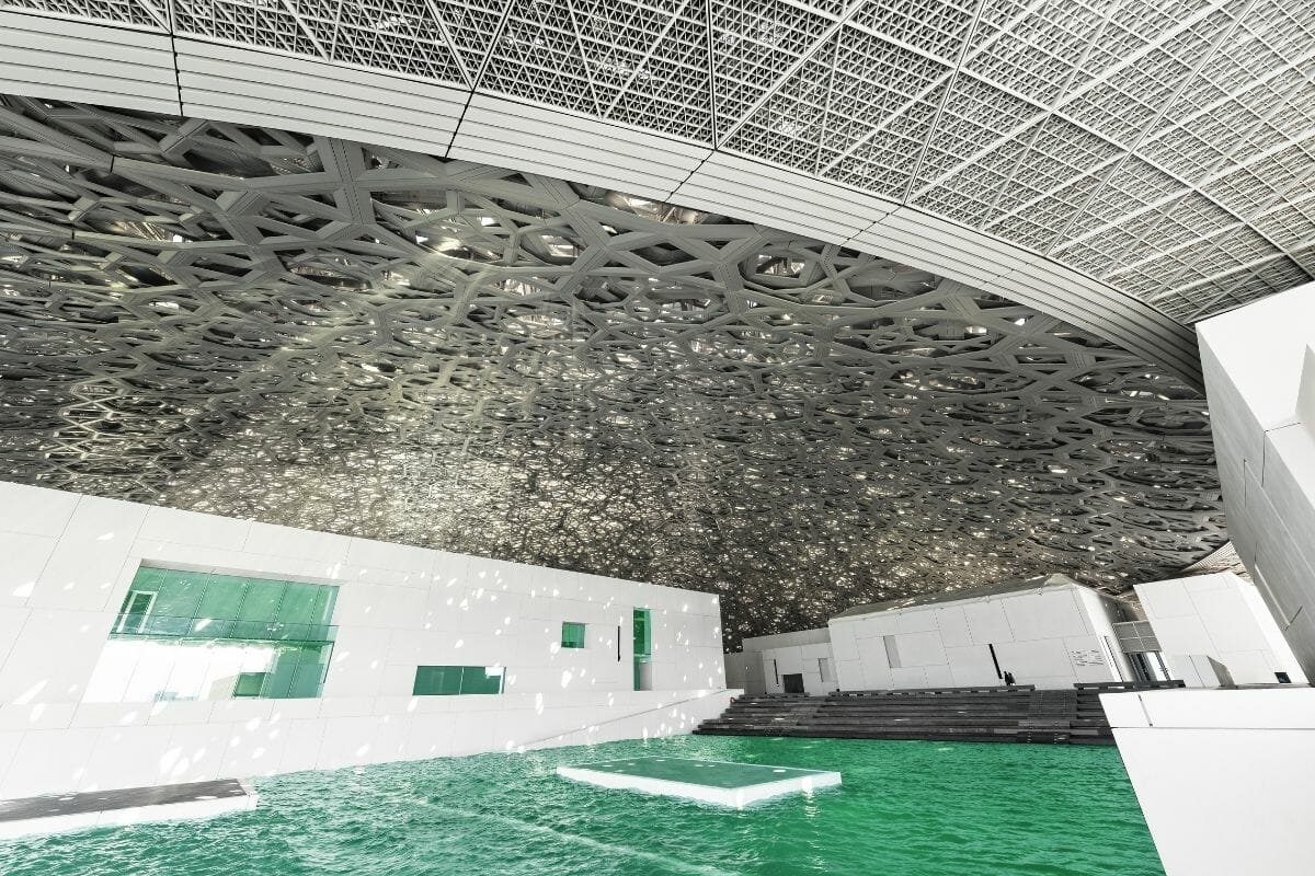 Beautiful lighting at the Louvre in Abu Dhabi