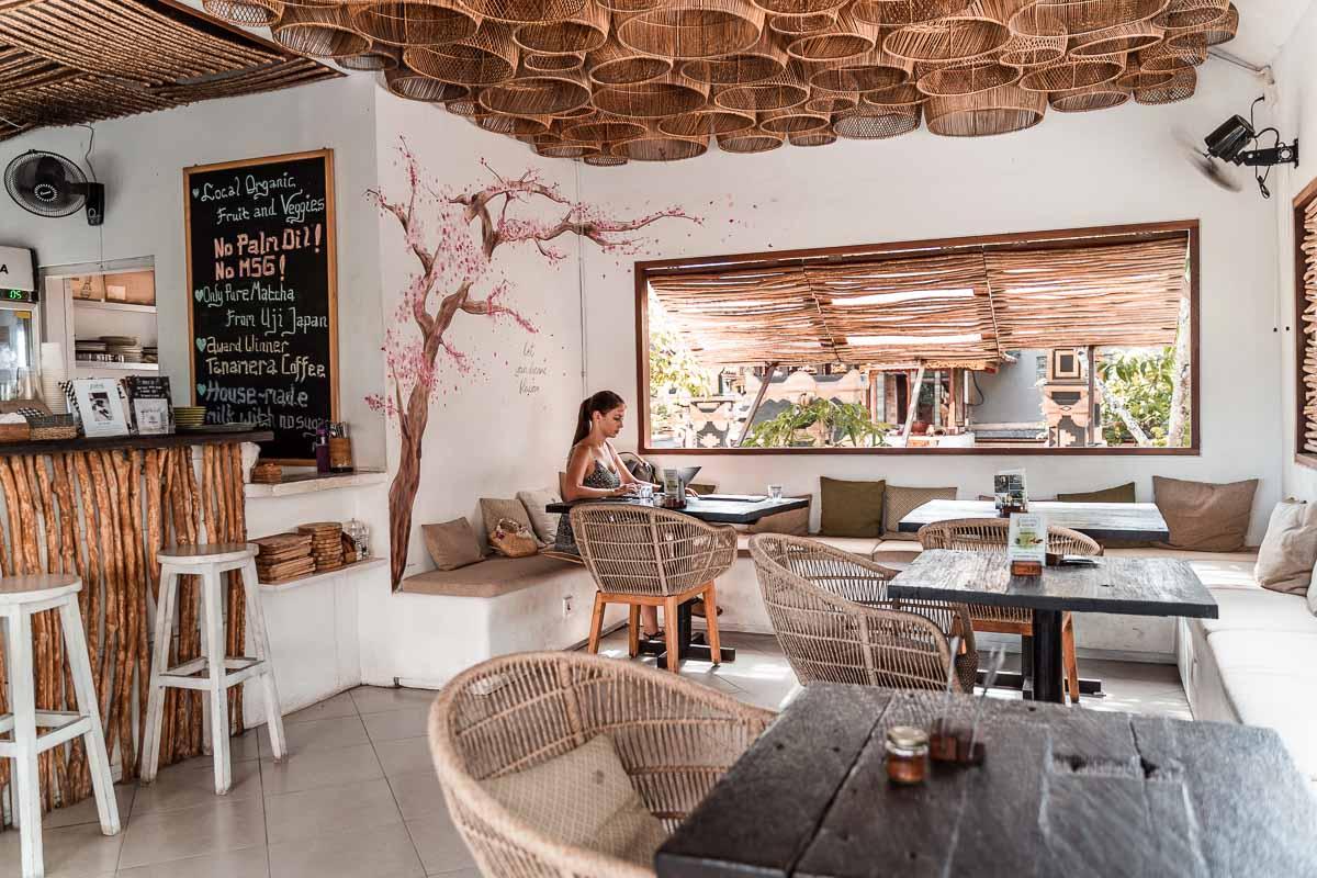 Inside eating area at Matcha Cafe in Canggu, Bali