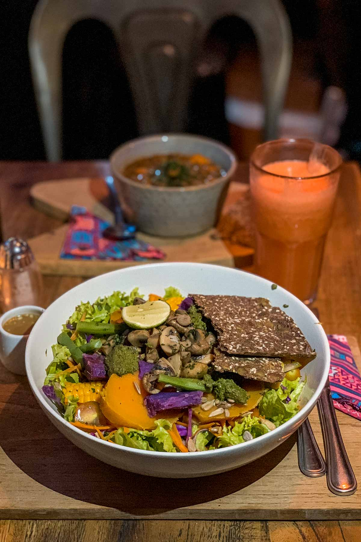Salad bowl at Motion Cafe in Canggu, Bali
