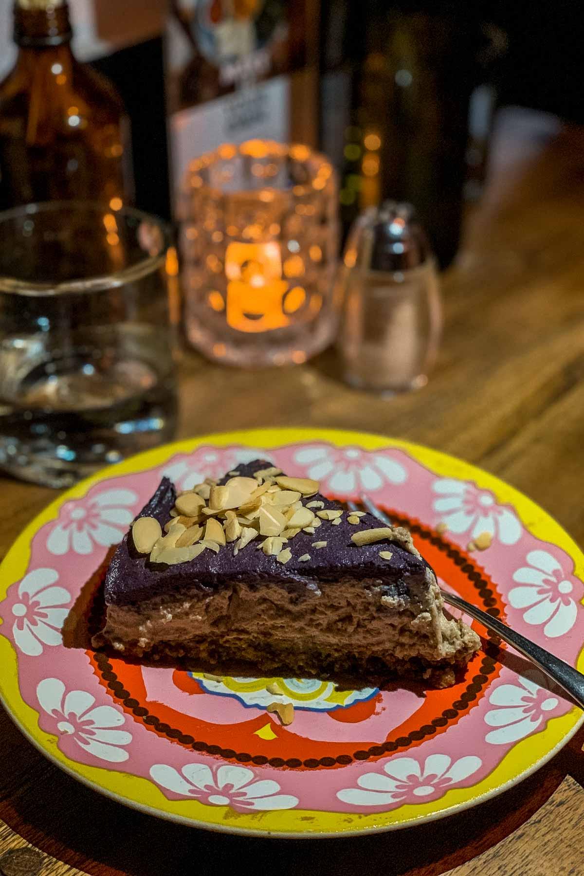 Healthy chocolate cake at Motion Cafe in Canggu, Bali
