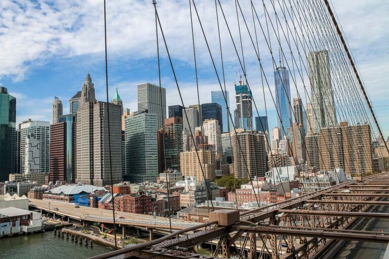 NYC skyline view from Brooklyn Bridge