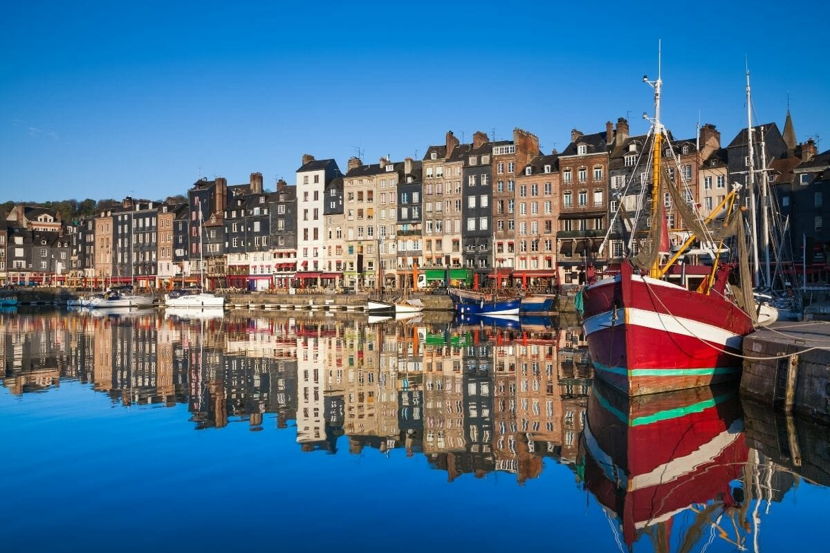 Reflection in the harbour in Honfleur, France