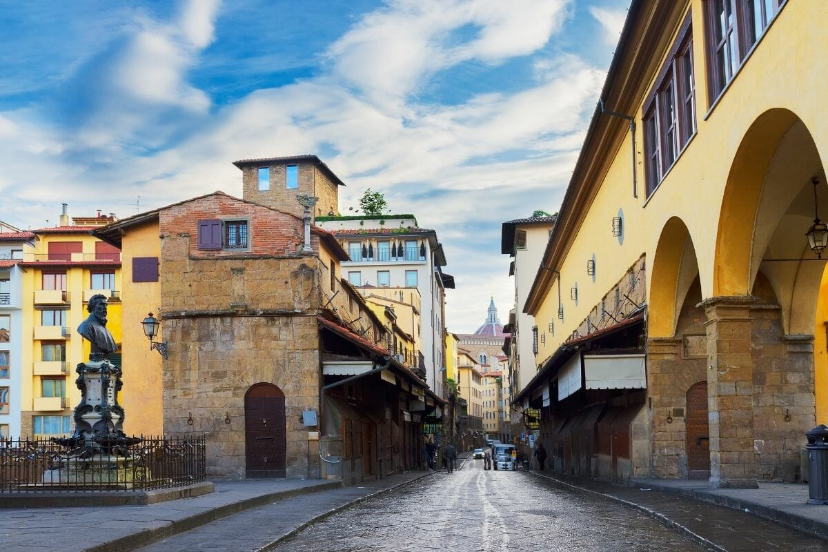 Street on Ponte Vecchio in Florence, Italy