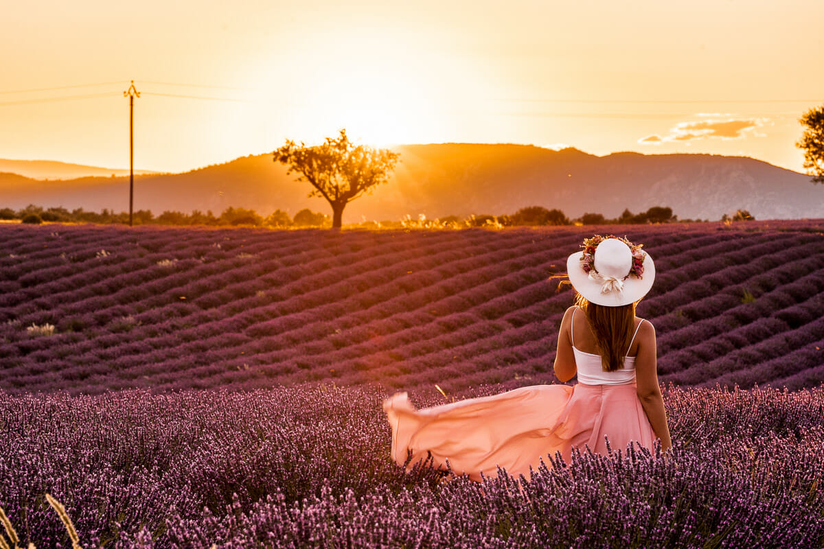 Girl in a pink skirt standing in the lavender fields in Provence at sunset