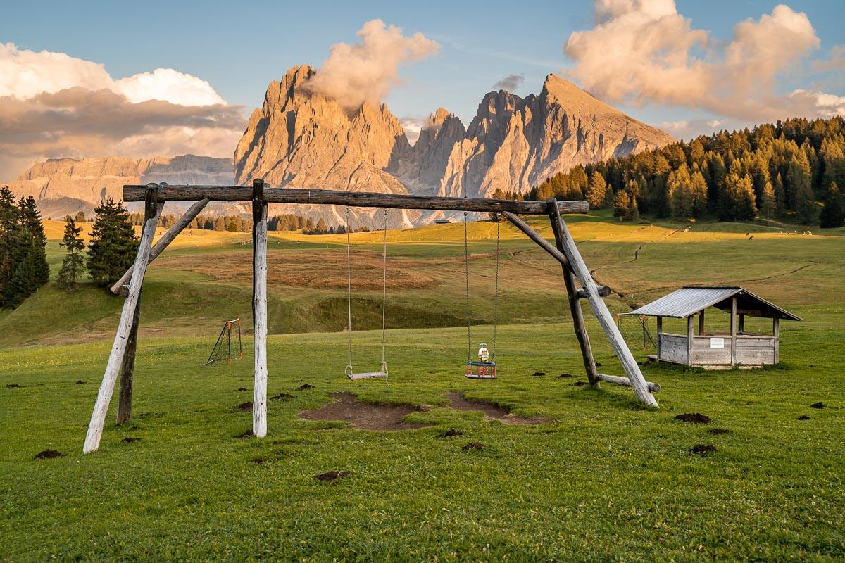 Swings at Alpe di Siusi, Dolomites