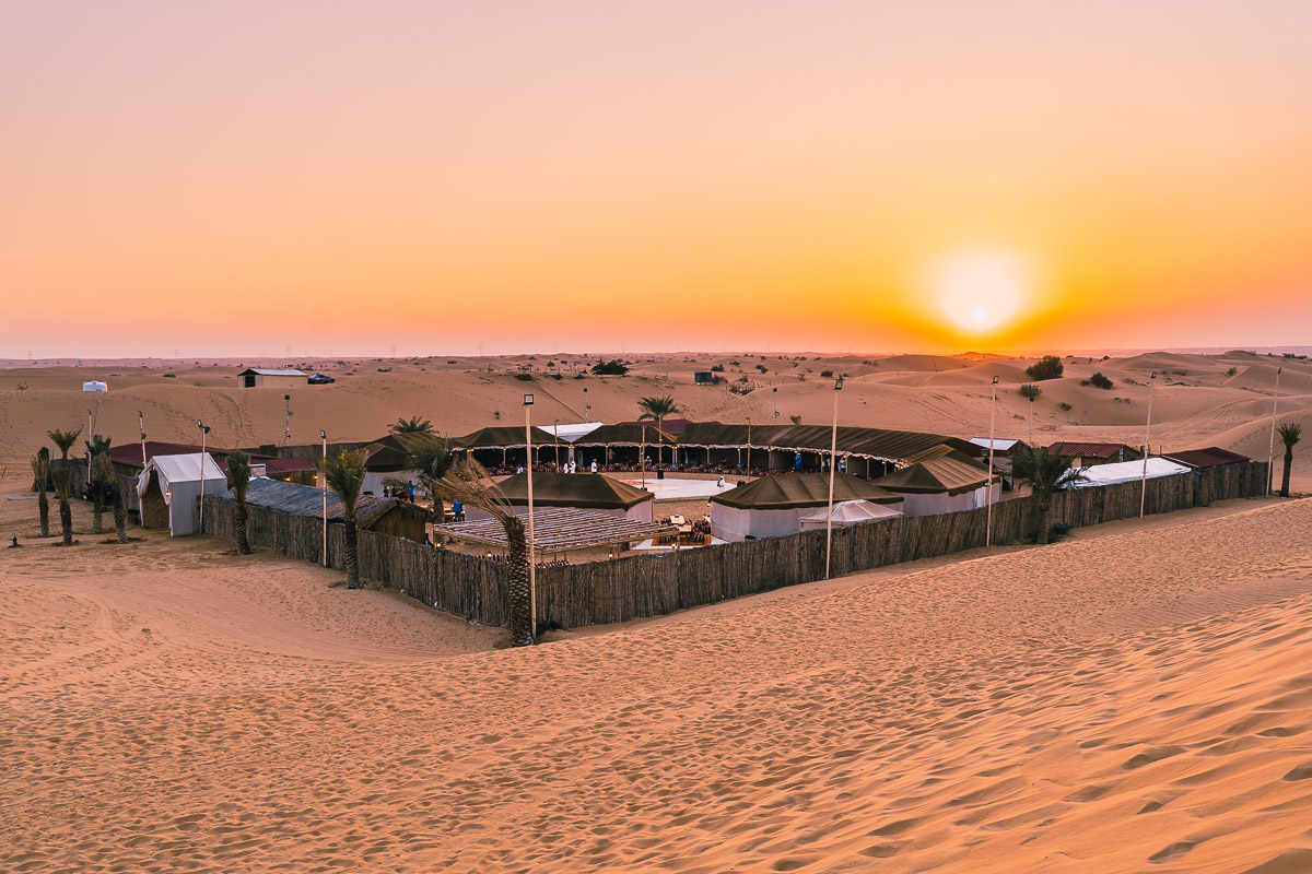Beduin camp in Dubai Desert at sunset