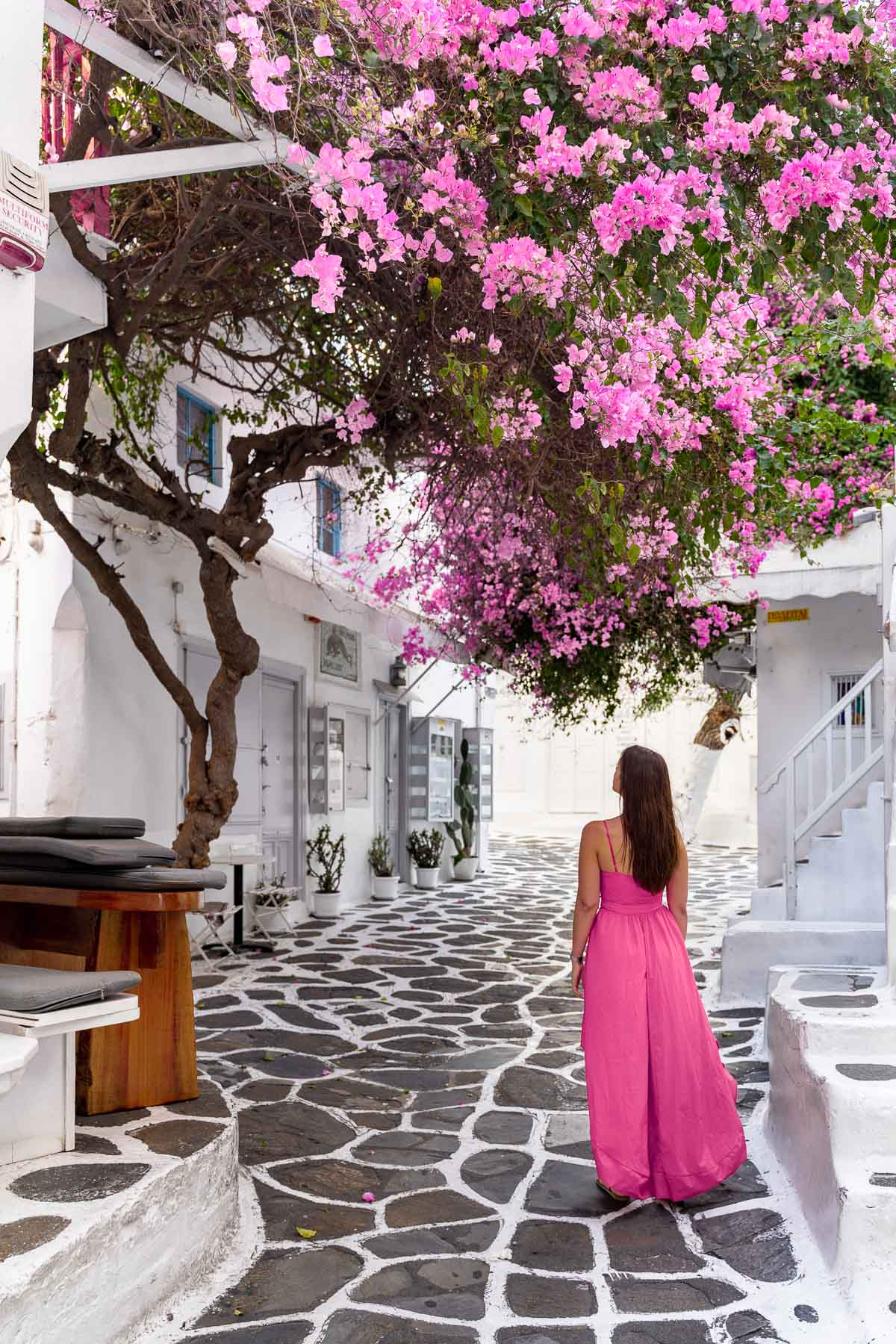 Girl in a pink dress standing under a huge pink bougainvillea tree in Mykonos