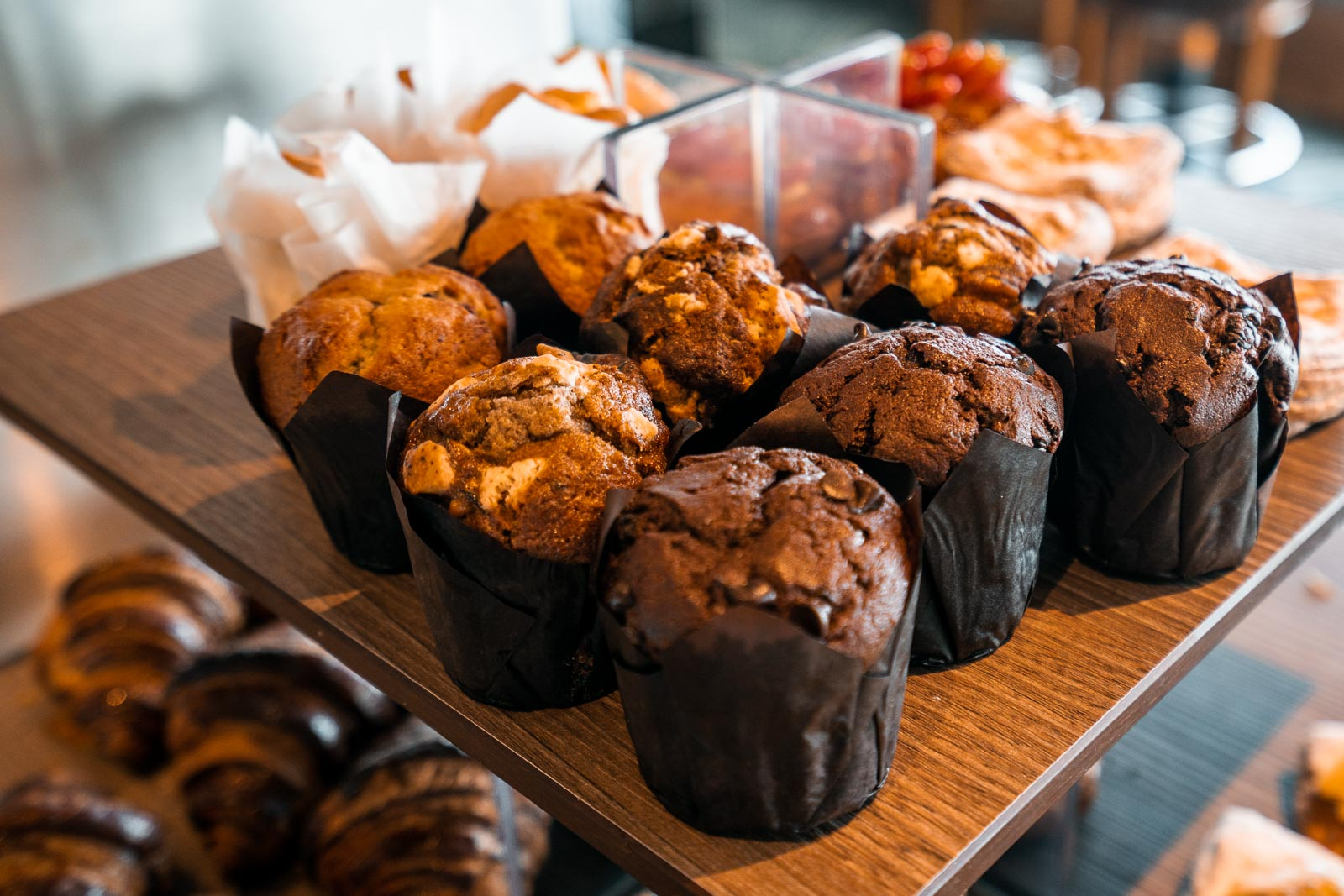 Muffin selection for breakfast