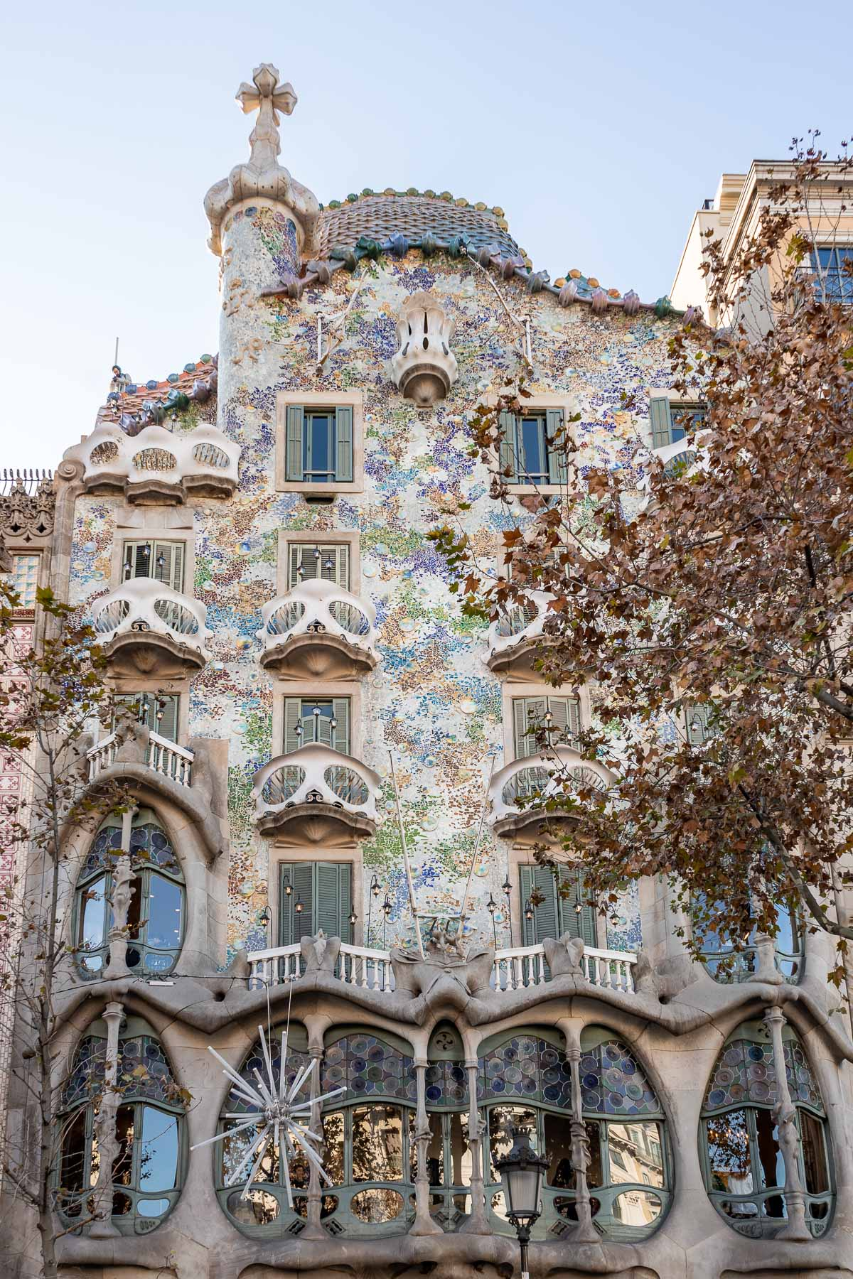 The beautiful facade of Casa Batllo in Barcelona