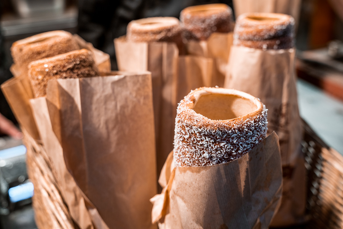 Chimney cakes at the Christmas markets in Budapest