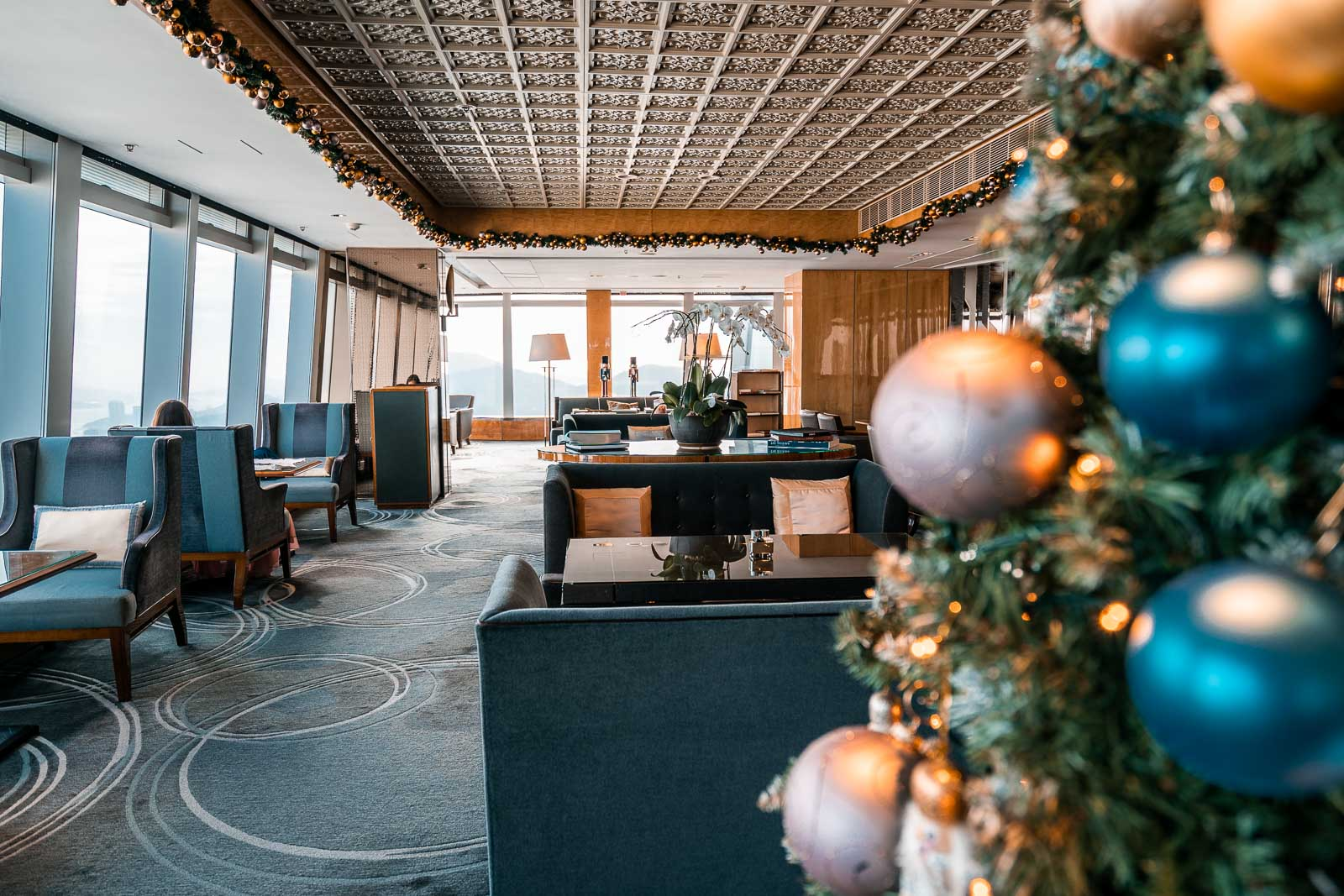 Club lounge on the 116th floor with Christmas decoration