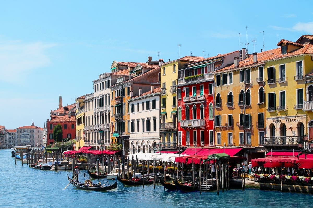 Colorful houses by the canals in Venice, Italy