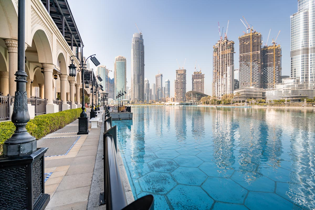 View of the skyscrapers and a pool from Dubai Downtown