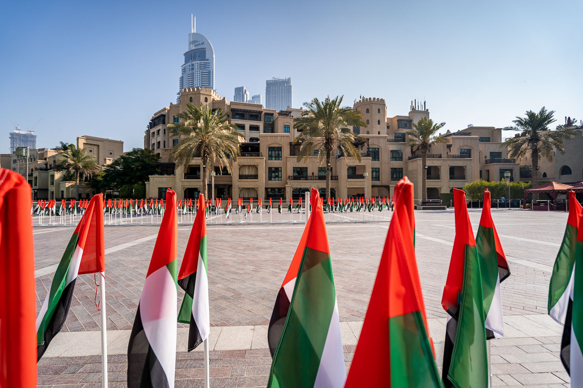 View of Dubai with the United Arab Emirates flag in the foreground