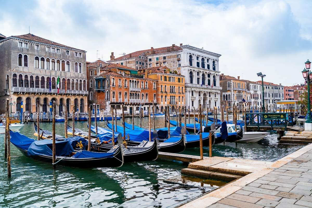 Gondolas along the Grand Canal in Venice, Italy
