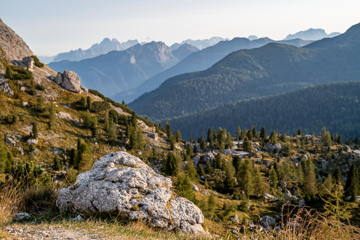 Panoramic view over the mountains from Lago di Valparola in the Dolomites