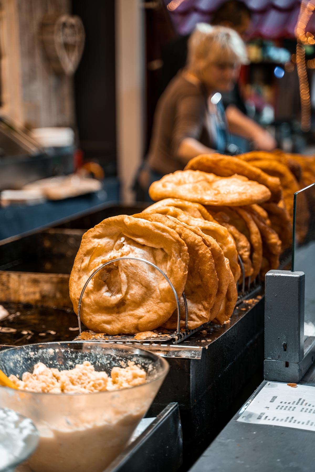 Lángos at the Christmas markets in Budapest
