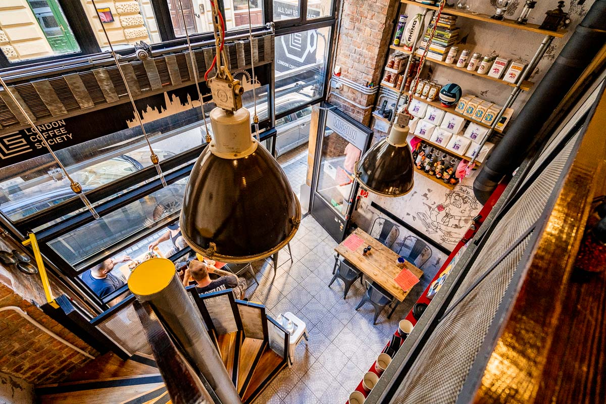 Interior at London Coffee Society in Budapest