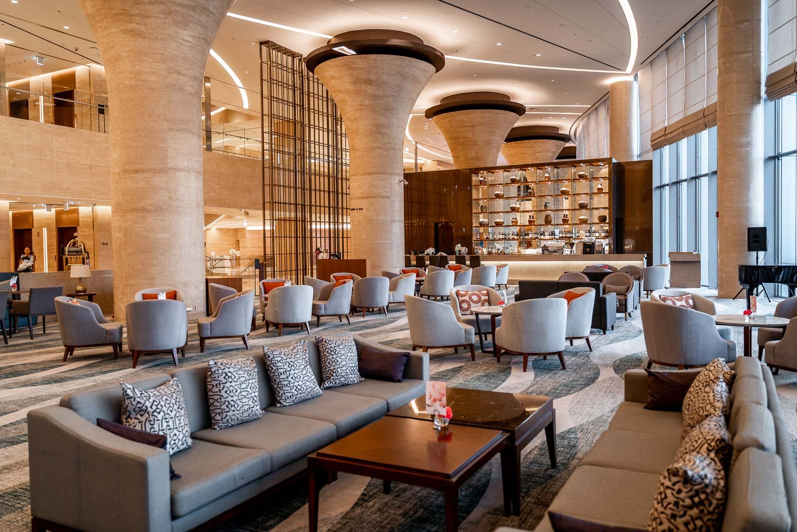 Bar area at the Lotte Hotel Yangon