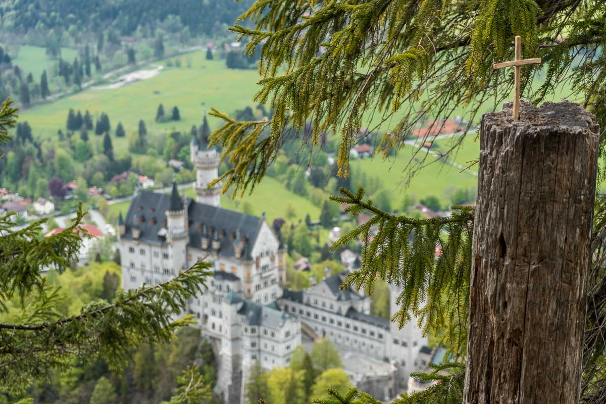 View of the Neuschwanstein Castle from an upper viewpoint