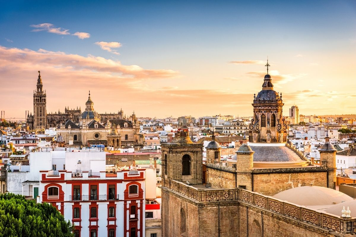Panoramic view of the Old Quarter in Seville, Spain