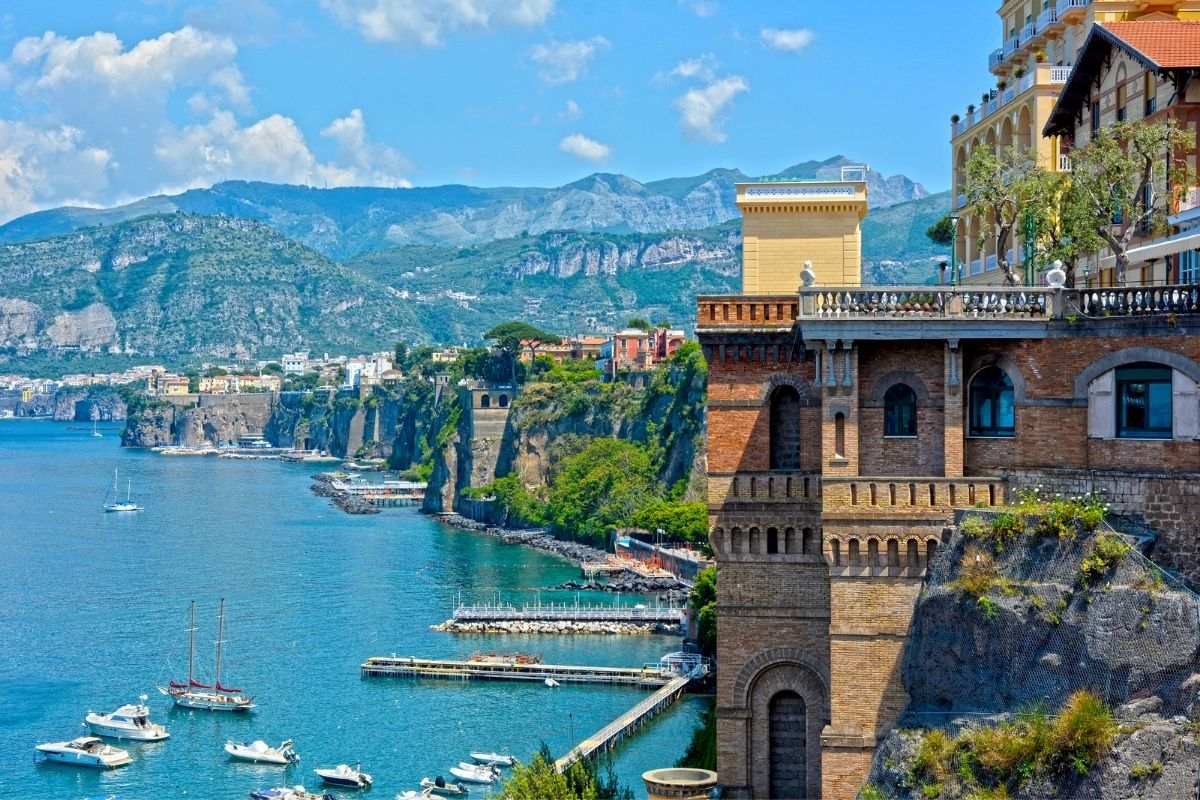 Panoramic view of the coastline in Sorrento, Italy