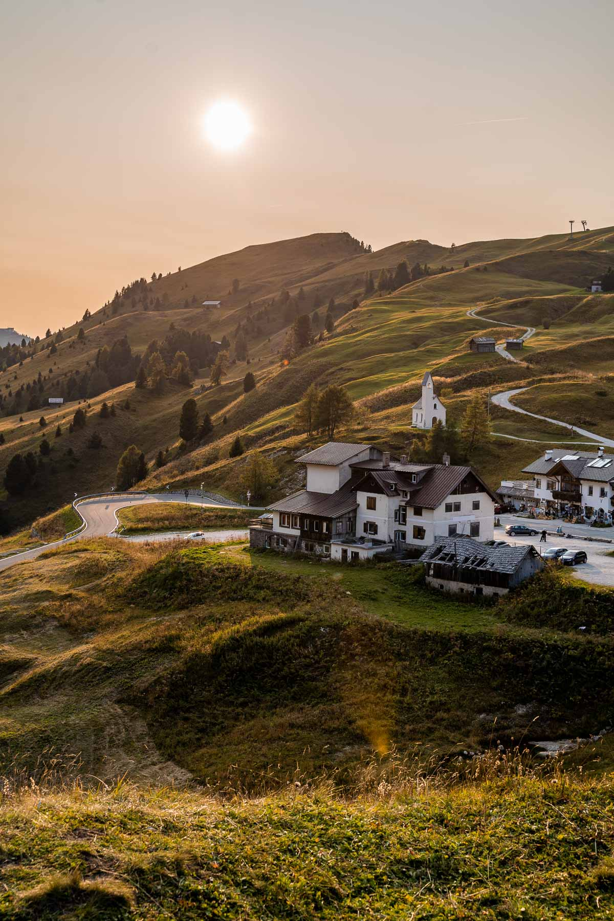 Golden hour at Passo Gardena, one of the most scenic drives in Italy