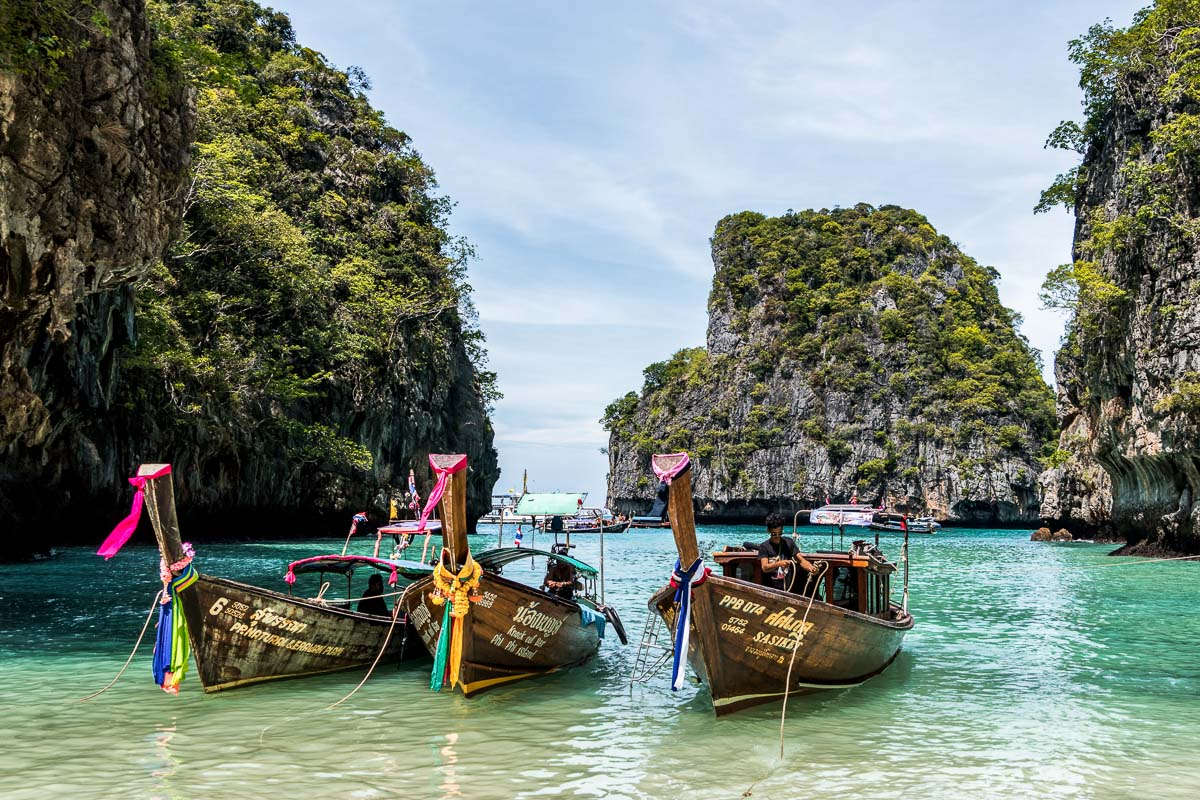 Boats on the water in Phuket, Thailand