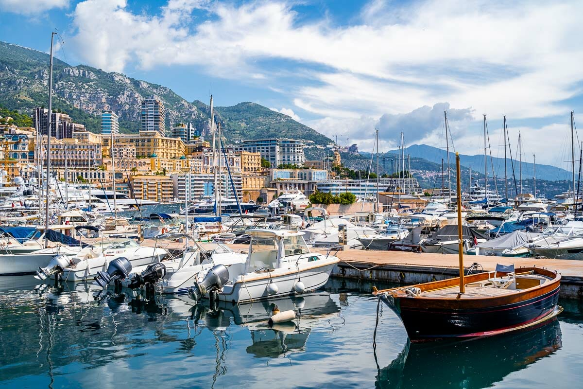 Beautiful yachts in Port Hercules in Monaco