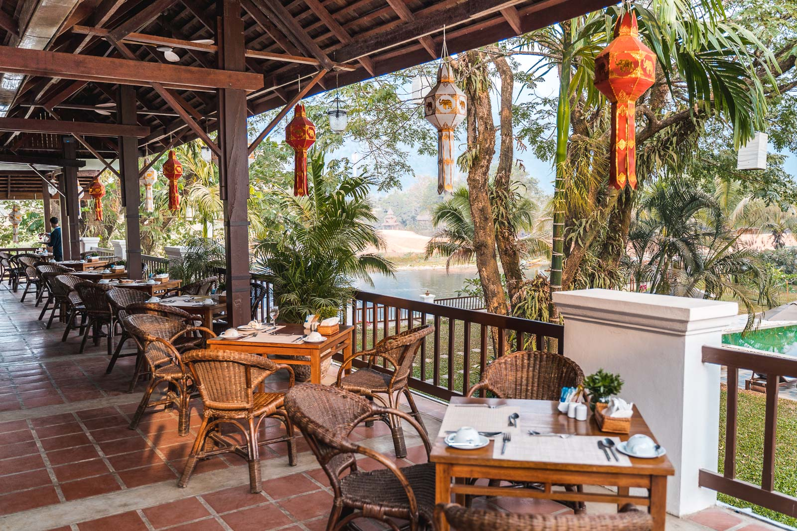 Terrace at the Restaurant Crabe d'Or in Vang Vieng