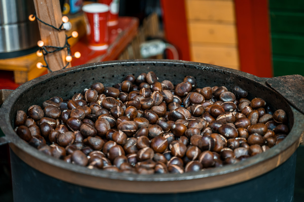 Roasted chestnut at the Christmas markets in Budapest