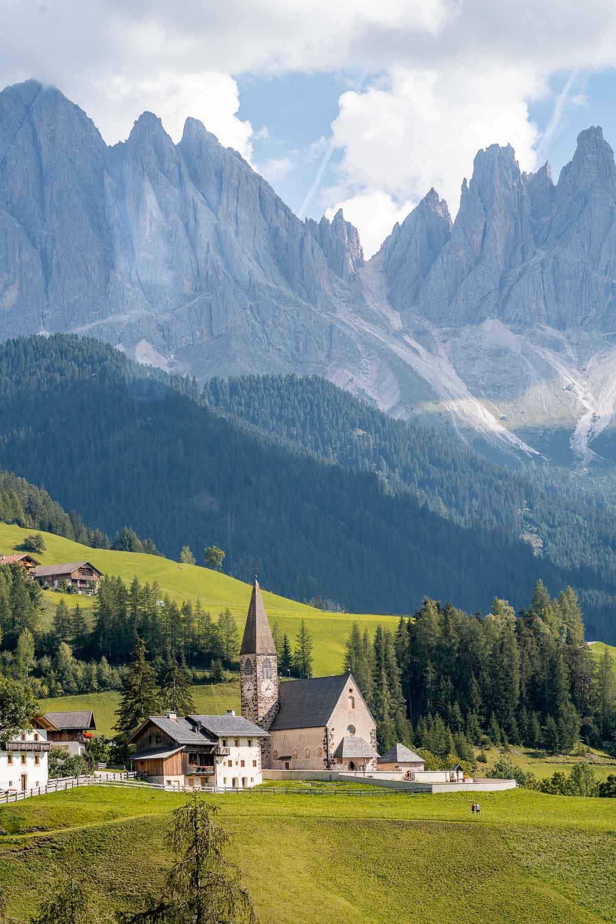 View of Santa Maddalena Church in Val di Funes, Dolomites
